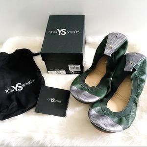 Yosi Samra Samantha Ballet Flat Aspen Green Pewter